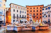 image of fountains  - The Fontana del Nettuno (Fountain of Neptune) is a fountain in Rome Italy located at Piazza Navona ** Note: Visible grain at 100%, best at smaller sizes - JPG