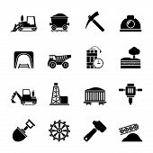 picture of mines  - Silhouette Mining and quarrying industry icons  - JPG