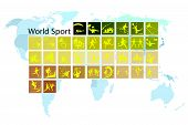 image of netball  - Illustration Collection of 35 World Sport Icons on World Map Background - JPG