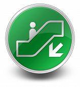 stock photo of escalator  - Icon Button Pictogram with Escalator Down symbol - JPG