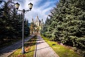 picture of ascension  - The Ascension Cathedral or Zenkov cathedral in Panfilov Park of Almaty Kazakhstan - JPG
