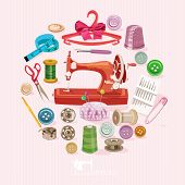 picture of sewing  - Supplies and accessories for sewing on colorful background - JPG