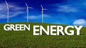 pic of generator  - wind generators on grass meadow  - JPG