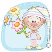 stock photo of gnome  - Gnome and flowers on a blue background - JPG