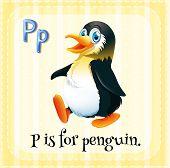 stock photo of letter p  - Flashcard letter P is for penguin - JPG