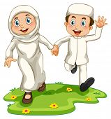 stock photo of muslim kids  - Muslim boy and girl holding hands - JPG