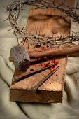 image of crown-of-thorns  - Cross with crown of thorns - JPG