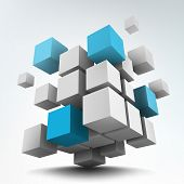image of cube  - Vector illustration of white and blue 3d cubes - JPG