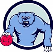 image of growl  - Illustration of a grizzly bear angry growling dribbling basketball viewed from front set inside circle on isolated background done in cartoon style - JPG