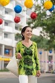 stock photo of conic  - Portrait of smiling woman with Vietnamese conical hat - JPG