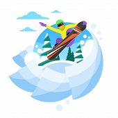Постер, плакат: Snowboarder Sliding Down Hill Man Snowboarding Snow