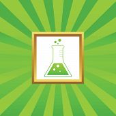 picture of conic  - Image of conical flask in golden frame - JPG