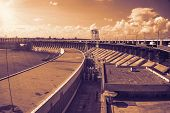 picture of hydroelectric  - View from a hydroelectric dam to the turbine unit the image toning - JPG