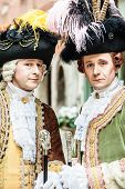 stock photo of aristocrat  - portrait of two medieval aristocratic noblemans in Venice - JPG