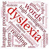 picture of dyslexia  - Dyslexia word cloud on a white background - JPG