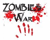 stock photo of horror  - The word zombie war for HORROR in a bloody - JPG