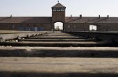 stock photo of auschwitz  - Entrance to Birkenau - JPG