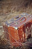 foto of old suitcase  - Two old vintage suitcases stand among a faded grass - JPG