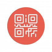 stock photo of qr codes  - QR code thin line icon for web and mobile minimalistic flat design - JPG