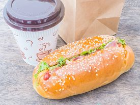 pic of bag-of-dog-food  - Take away cup of coffee and hot dog with paper bag - JPG