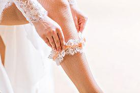 picture of garter-belt  - bride dresses garter on the leg - JPG