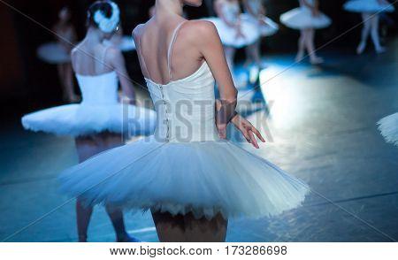 poster of Ballet swan lake. Ballet statement. Ballerinas in the movement. Feet of ballerinas close up.