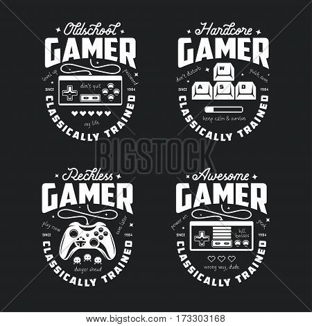 ffef188b795 Retro video games related t-shirt design. Oldschool gamer text. Monochrome  joystick set