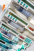 Several syringe pumps in intensive care unit
