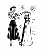 Lady With Clean Dress - Retro Clip Art