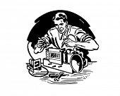 Radio Repairman 1 - Retro Clip Art