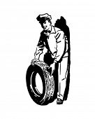 New Tire And Serviceman - Retro Clip Art