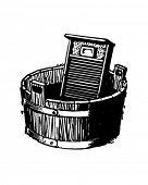 Washboard And Bucket - Retro Clip Art