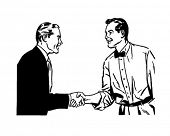 Hearty Handshake - Retro Clip Art