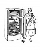 Lady With New Fridge - Retro Clip Art