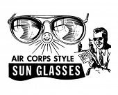 Mens Air Corps Sunglasses - Retro Clip Art
