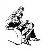 Couple Enjoying Magazine - Retro Clipart Illustration