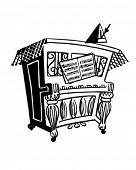 Lively Piano - Retro Clipart Illustration