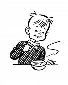 Boy Eating Porridge - Retro Clipart Illustration