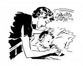 Mother Bottle Feeding Baby - Retro Clipart Illustration