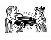Couple With New Car - Retro Clipart Illustration