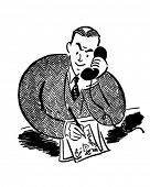 Man On The Phone 2 - Retro Clipart Illustration