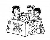 Family Reading Book - Retro Clipart Illustration