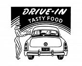 Drive-In leckeres Essen - Kunst Retro Ad - Banner