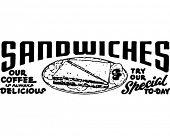 Постер, плакат: Бутерброды ретро рекламный баннер искусство