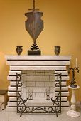 mantelpiece chimney fireplace fire hearth grate vintage