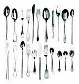 collection of silver cutlery