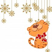 illustration of a cute tiger with snowflakes