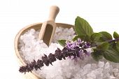 Aroma Bath. Sea Salt And Basil With Flowers