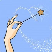 Hand with a magic wand