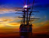stock photo of tall ship  - The ancient ship in the sea - JPG
